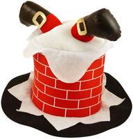 09f4180f0352e Adult 3D Christmas CHIMNEY Santa Hat Xmas Party Funny Mens Womens Fancy  Dress