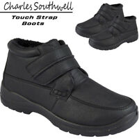 Mens Black Winter Leather Fleece Inner Touch Strap Boots Casual Shoes Sizes 7-12