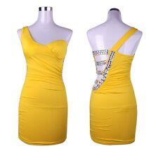 Rhinestone Womens Open Back One Shoulder Stretch Cocktail Party Club Mini Dress