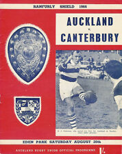 AUCKLAND v CANTERBURY RANFURLY SHIELD 1966 RUGBY PROGRAMME