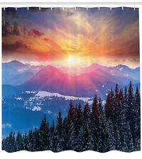Forest Shower Curtain Sunset in Mountains Print for Bathroom 70 Inches Long