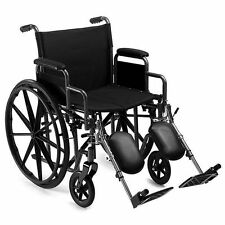 New Extra Wide Seat Folding Wheelchair Self Propelled Leg-rests Strong Bariatric