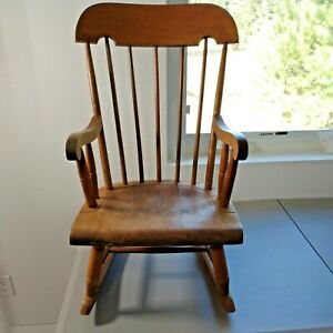 Vintage Nichols and Stone Windsor Childs Rocking Chair Stamped #2
