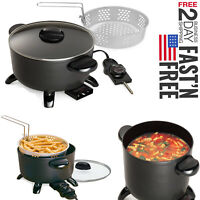 Electric Deep Fryer Home Restaurant Kitchen Kettle Multi Cooker Steamer Tabletop