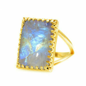 Natural Rainbow Moonstone Cabochon Cut 18K Gold Plated Gemstone Ring Size H To Z