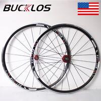BUCKLOS Road Wheelset QR 700c Front Rear Wheel for 7-11s Bike Cassette 30mm Rims