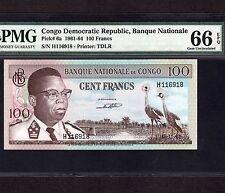 Congo 100 Francs 1961 P-6a * PMG Gem Unc 66 EPQ * Rare Condition *