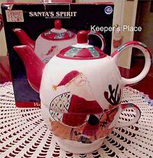 Debbie Mumm Tea For One SANTA'S SPIRIT Folk Art Santa Oneida Sakura New