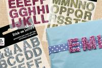 Stick-on glitter letters 18mm, A-L, M-Z, blue, pink, gold, silver