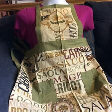 apron Olive Green Food-Theme Print Cotton-2 Pockets-New-Usa Seller-Free Shipping