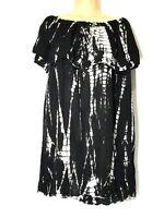 Raviya Womens Cottony Beach Vacation Coverup Tie-Dye Off Shoulder Dress 10 12 M