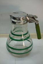 VINTAGE SYRUP PITCHER JUG GLASS CHROME ART DECO STRIPES GREEN BAKELITE HANDLE