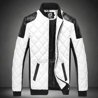 Men's Fashion Slim Fit Motorcycle PU Leather Jacket Winter Warm Coat Bomber New