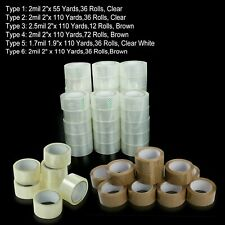 12 36 72 Rolls Clear Brown Packing Carton Sealing Tape 2x55 2x110 Yards