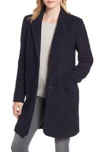 Marc New York 164775 Women's Paige Boucle Navy Button Closure Coat Size 4