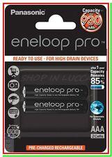 2 Eneloop Pro Panasonic Batterie Ricaricabili Ministilo AAA 930/980mAh 500 cicli