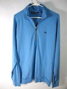 Travis Mathew Mens Athletic Jacket L 1/4 Zip Light Blue Pullover Jersey