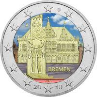 2 Euro Gedenkmünze BRD / Deutschland 2010 Bremen coloriert Farbe / Farbmünze