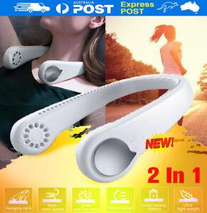 Mini Portable USB Air Cooler 2 In 1 Mini Electric Air Conditioner Neck Fan NEW