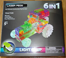 Tractor Laser Pegs 6 in 1 Light up construction toy block,  Works with any brick