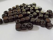 100pcs 10mm Wooden CUBE Square Spacer Wood Beads -  DARK BROWN