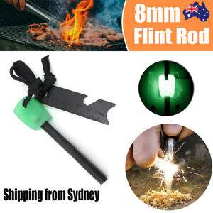 8mm Flint Rod Camping Survival Fire Starter Lighter (FULL Magnesium Rod) NEW
