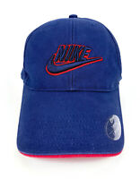 Nike Youth's Embroidered Swoosh Logo Cotton Blue Red Baseball Cap Adjustable
