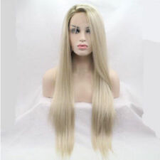 Long Front Lace Wig Ash Blonde Straight Soft Natural Hair Women Full Wigs