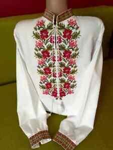 Ukrainian Folk Tradition Embroidered Shirt for men Cross stitch Size 2XS-4XL
