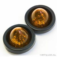 "2 New 2"" Amber LED Beehive Side Clearance Marker Lights w Grommet and Wiring"