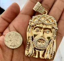 """Mens Large Iced Jesus Piece Cz Pendant 30"""" Chain 14k Gold Plated Hip Hop Jewelry"""