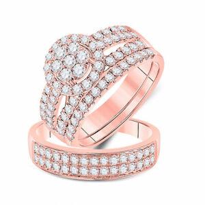 14kt Rose Gold His Hers Round Diamond Matching Bridal Wedding Ring Set 1-3/4 Ctw
