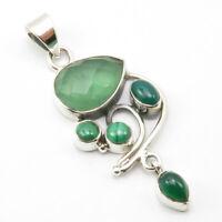 SilverStarJewel 925 Fine Silver Malachite Goddess Pendant 2.3 5.3 Grams Women Jewelry