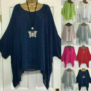 Plus Size Womens Bat Sleeve Baggy Blouse T-Shirt Ladies Casual Tunic Linen Tops