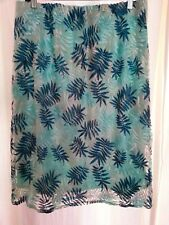 Mint green white embroidered LEAF pull on SKIRT lined 18 desk to dinner NEW