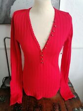 Free People Chain It Thermal Top large 14 Stretch red ribbed bnwt