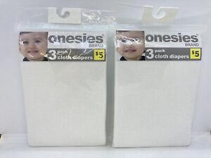 "2 Packs Onesies By Gerber Brand Cloth Diapers 24"" x 27"" ~ Total of 6 Diapers"