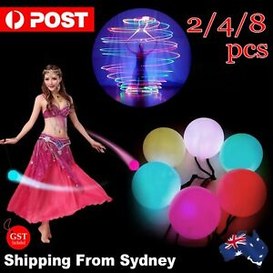 Up8x LED Multi-colored Glow POI Light Up Thrown Ball Belly Dance Level Hand Prop
