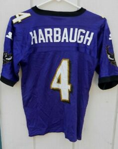 BALTIMORE RAVENS JIM HARBAUGH # 4   FOOTBALL JERSEY SIZE YOUTH SMALL BY STARTER