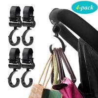 4pcs Stroller Hooks Pram Bag Hook Rotate 360 Degree Baby Car Hanging Universal