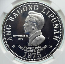 1975 PHILIPPINES New Society MARCOS Old Proof Silver 50 Pesos Coin NGC i86676
