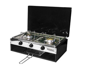 BROMIC LIDO JUNIOR CARAVAN 2 BURNER STOVE WITH GRILL  STRUDY COOKING FLAME PROOF