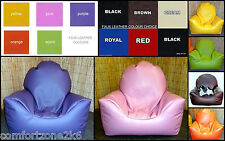 MED CHILDRENS FAUX LEATHER BEANBAG ARMCHAIR - CHILD BEAN BAG CHAIR - WIPE CLEAN