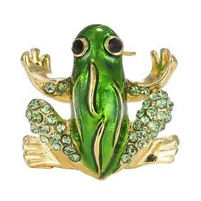 Green Rhinestone Crystal Animal Frog Brooches Pin Women Costume Party Jewellery