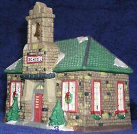 Christmas Village House Victorian Stone School Dickens 1995 Ceramic Light Mint