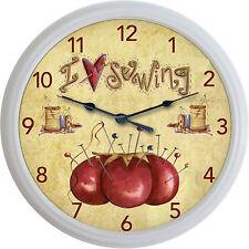 Sewing Sew Wall Clock Spool Needle Thread Pin Cushion Seamstress I Love Sewing
