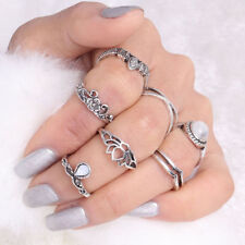NEW Rings Silver Boho Finger Knuckle Ring Band Pearl Midi Stacking Set of 7 pcs