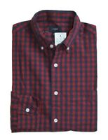 J Crew Factory - Men's S - Slim Fit - Red/Navy Gingham Washed Cotton Shirt