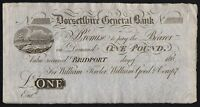 180- DORSETSHIRE GENERAL BANK £1 BANKNOTE * UNISSUED * EF * Outing 290a *