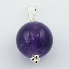 Silver pendant Amethyst Gemstone 14mm Sphere 925 Sterling Silver handmade new